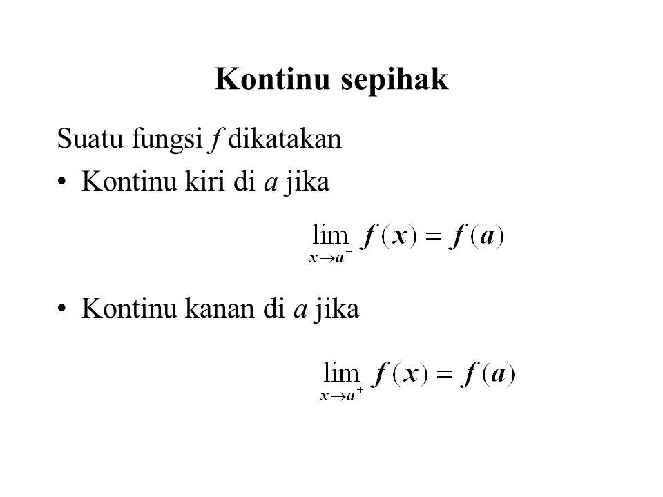 Kontinu sepihak Suatu fungsi f dikatakan Kontinu kiri di a jika