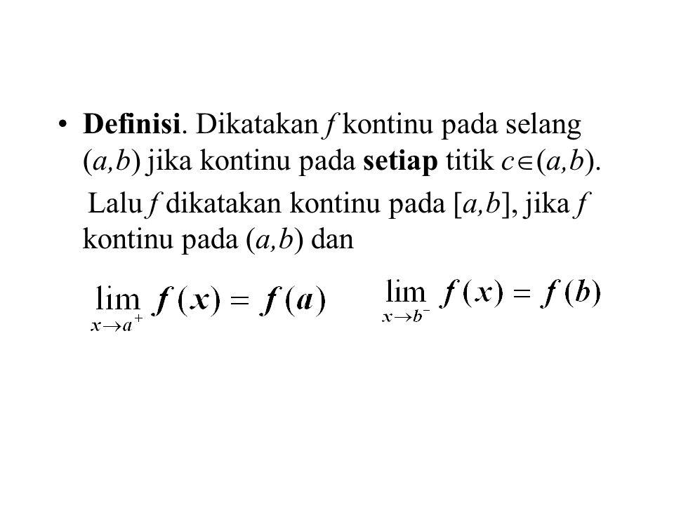 Definisi. Dikatakan f kontinu pada selang (a,b) jika kontinu pada setiap titik c(a,b).