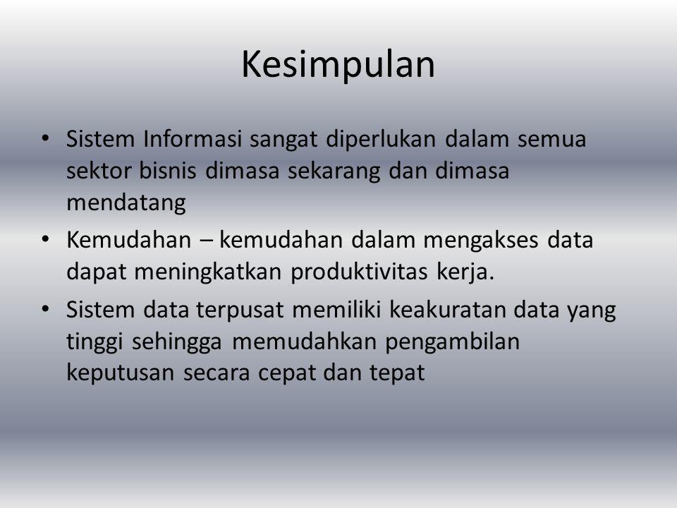 Kesimpulan Sistem Informasi sangat diperlukan dalam semua sektor bisnis dimasa sekarang dan dimasa mendatang.