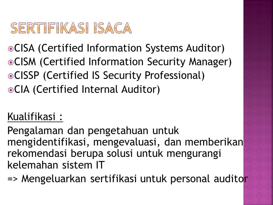 Sertifikasi ISACA CISA (Certified Information Systems Auditor)