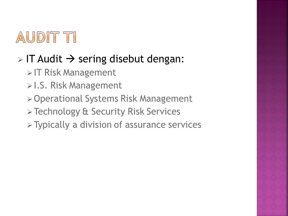 AUDIT TI IT Audit  sering disebut dengan: IT Risk Management