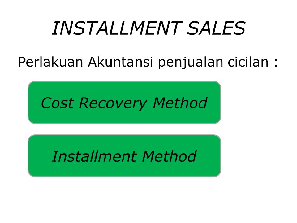 INSTALLMENT SALES Cost Recovery Method Installment Method