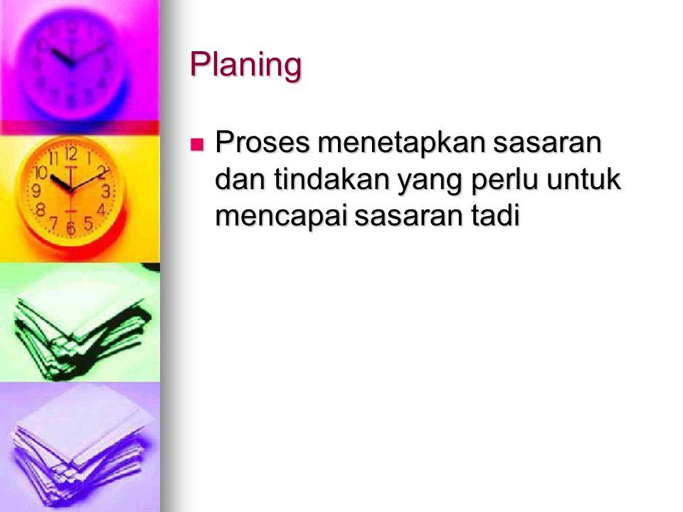 Planing Proses menetapkan sasaran dan tindakan yang perlu untuk mencapai sasaran tadi