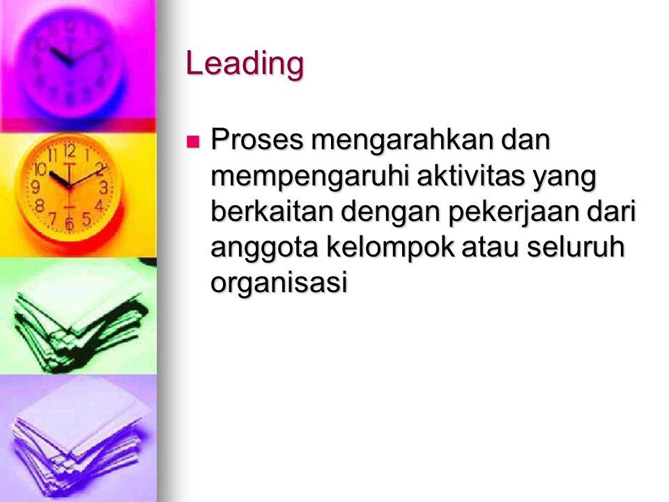 Leading Proses mengarahkan dan mempengaruhi aktivitas yang berkaitan dengan pekerjaan dari anggota kelompok atau seluruh organisasi.