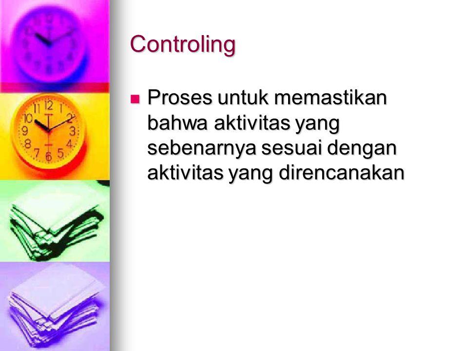 Controling Proses untuk memastikan bahwa aktivitas yang sebenarnya sesuai dengan aktivitas yang direncanakan.