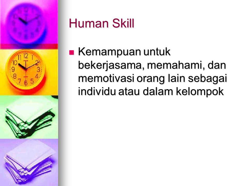 Human Skill Kemampuan untuk bekerjasama, memahami, dan memotivasi orang lain sebagai individu atau dalam kelompok.