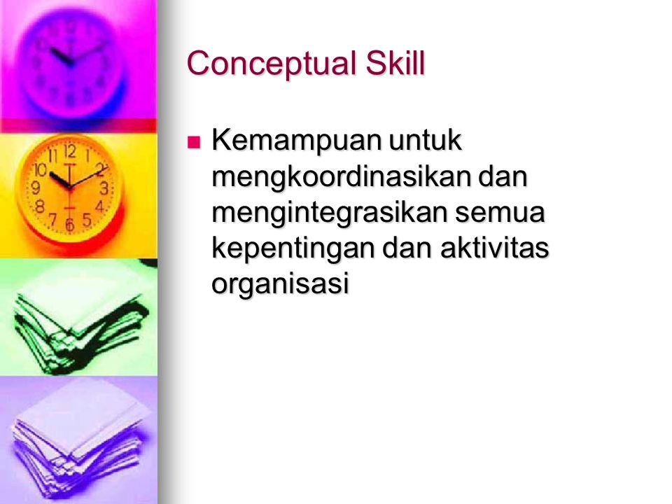Conceptual Skill Kemampuan untuk mengkoordinasikan dan mengintegrasikan semua kepentingan dan aktivitas organisasi.