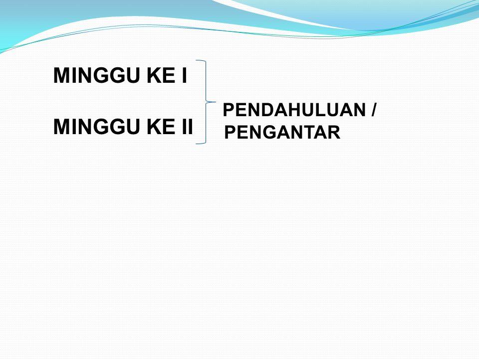 MINGGU KE I MINGGU KE II PENDAHULUAN / PENGANTAR