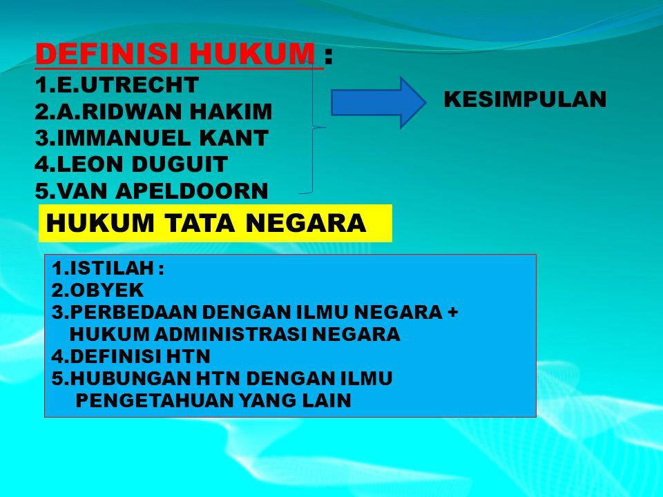 DEFINISI HUKUM : HUKUM TATA NEGARA 1.E.UTRECHT 2.A.RIDWAN HAKIM