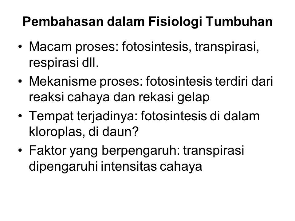 Pembahasan dalam Fisiologi Tumbuhan