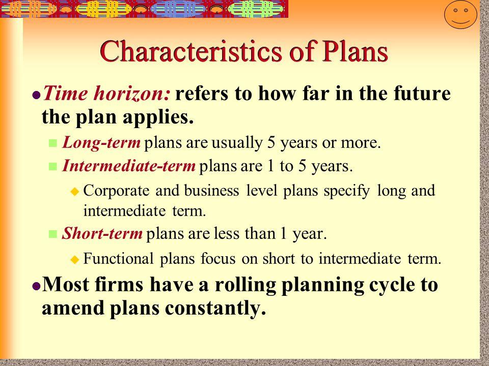 Characteristics of Plans