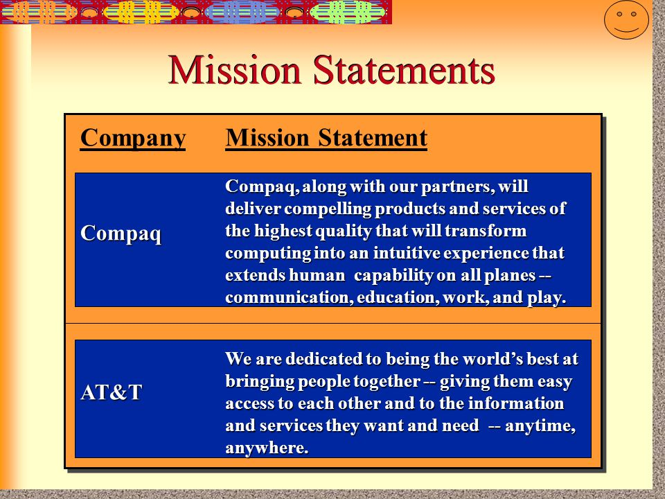 Mission Statements Company Mission Statement Compaq AT&T
