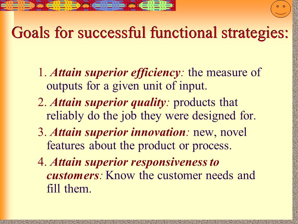 Goals for successful functional strategies:
