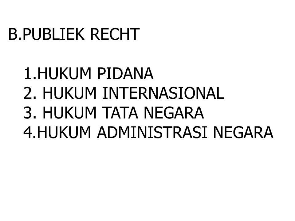 B.PUBLIEK RECHT 1.HUKUM PIDANA. 2. HUKUM INTERNASIONAL.