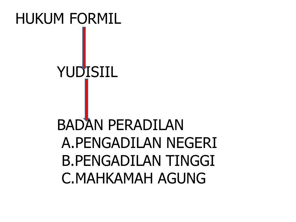 HUKUM FORMIL YUDISIIL BADAN PERADILAN A.PENGADILAN NEGERI B.PENGADILAN TINGGI C.MAHKAMAH AGUNG