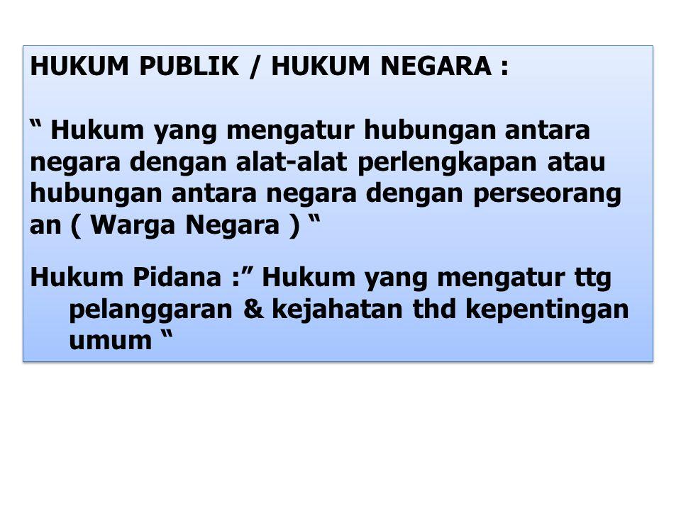 HUKUM PUBLIK / HUKUM NEGARA :