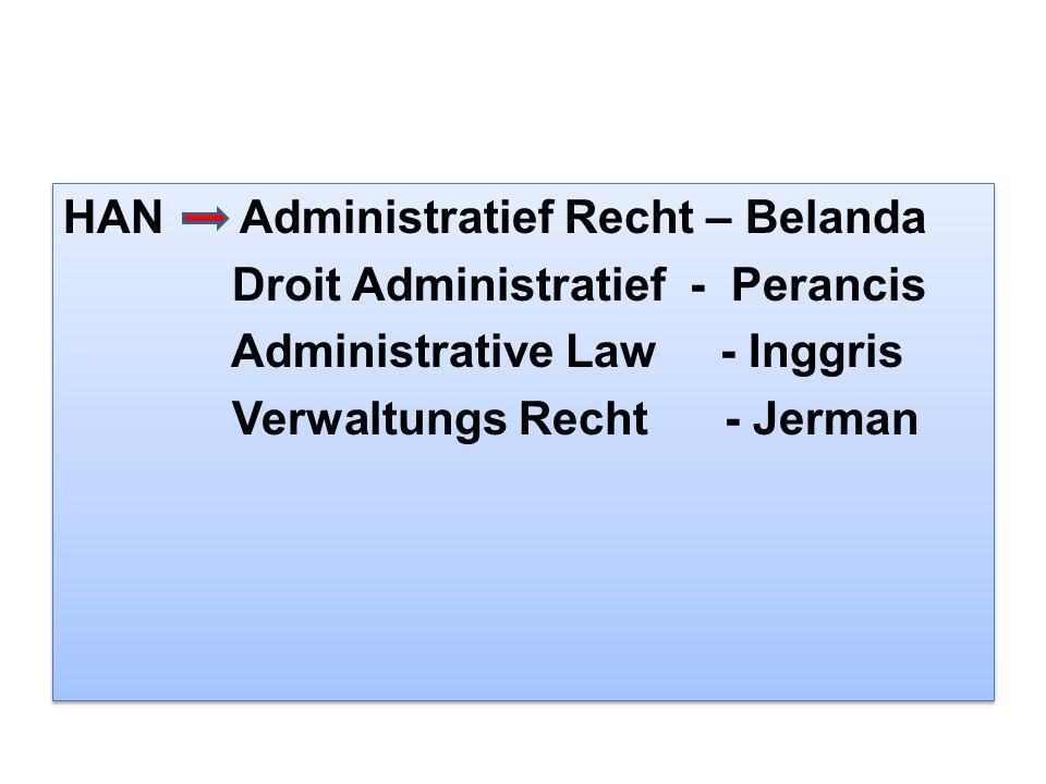 HAN Administratief Recht – Belanda Droit Administratief - Perancis Administrative Law - Inggris Verwaltungs Recht - Jerman