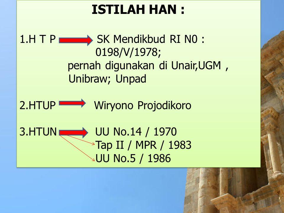 ISTILAH HAN : 1.H T P SK Mendikbud RI N0 : 0198/V/1978;