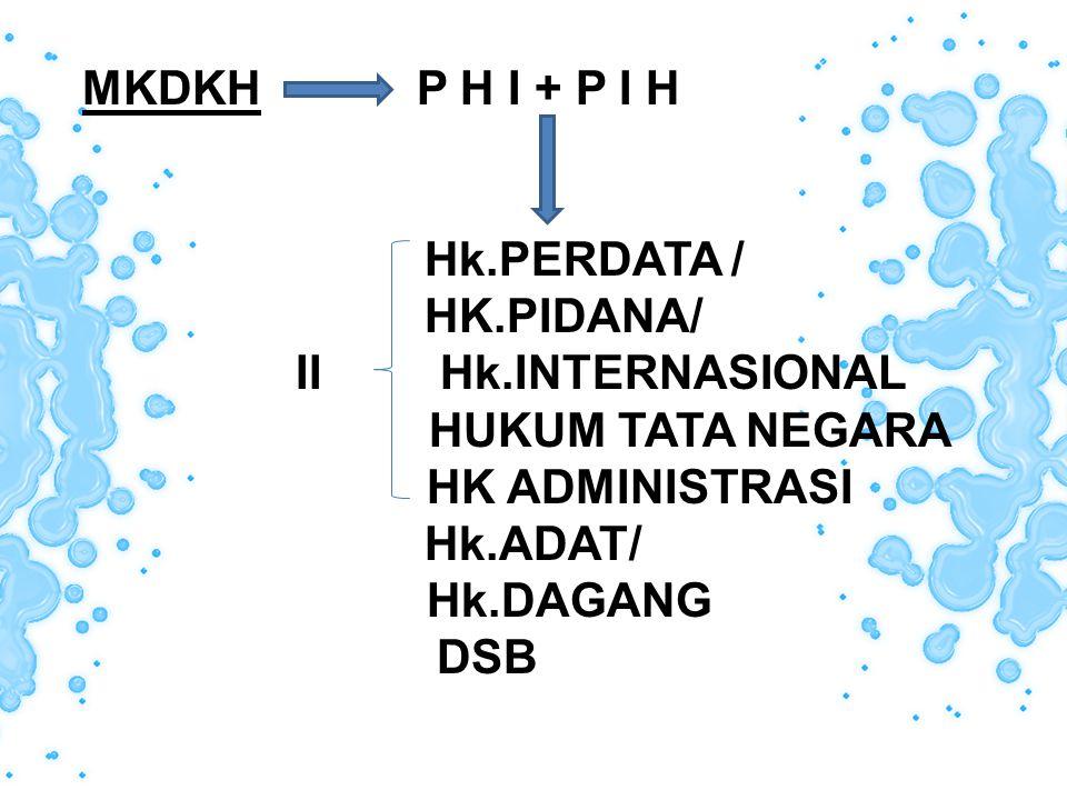 MKDKH P H I + P I H Hk.PERDATA / HK.PIDANA/ II Hk.INTERNASIONAL. HUKUM TATA NEGARA.