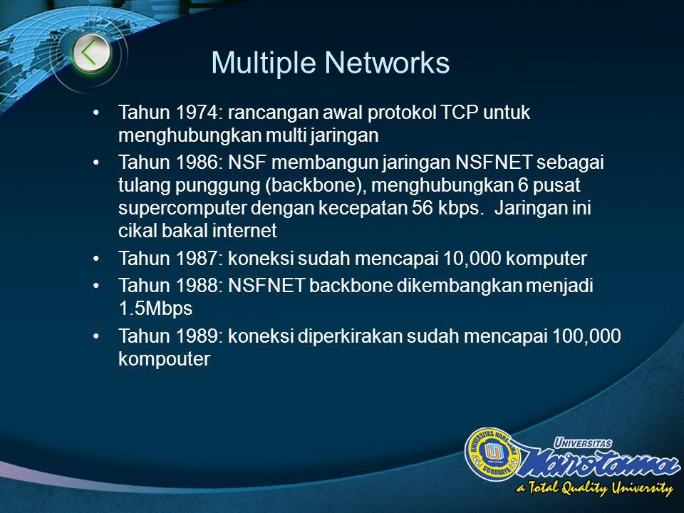 Multiple Networks Tahun 1974: rancangan awal protokol TCP untuk menghubungkan multi jaringan.