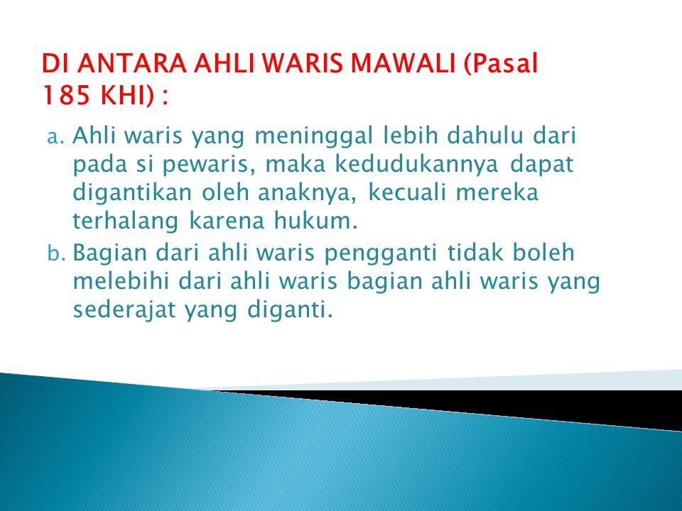DI ANTARA AHLI WARIS MAWALI (Pasal 185 KHI) :