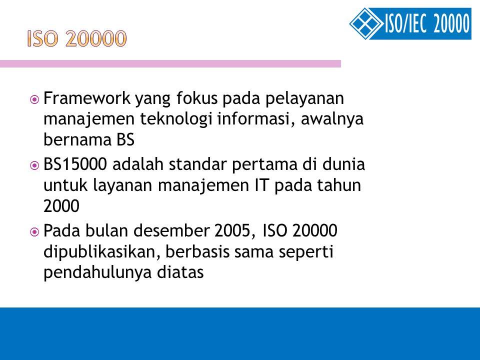 ISO 20000 Framework yang fokus pada pelayanan manajemen teknologi informasi, awalnya bernama BS.