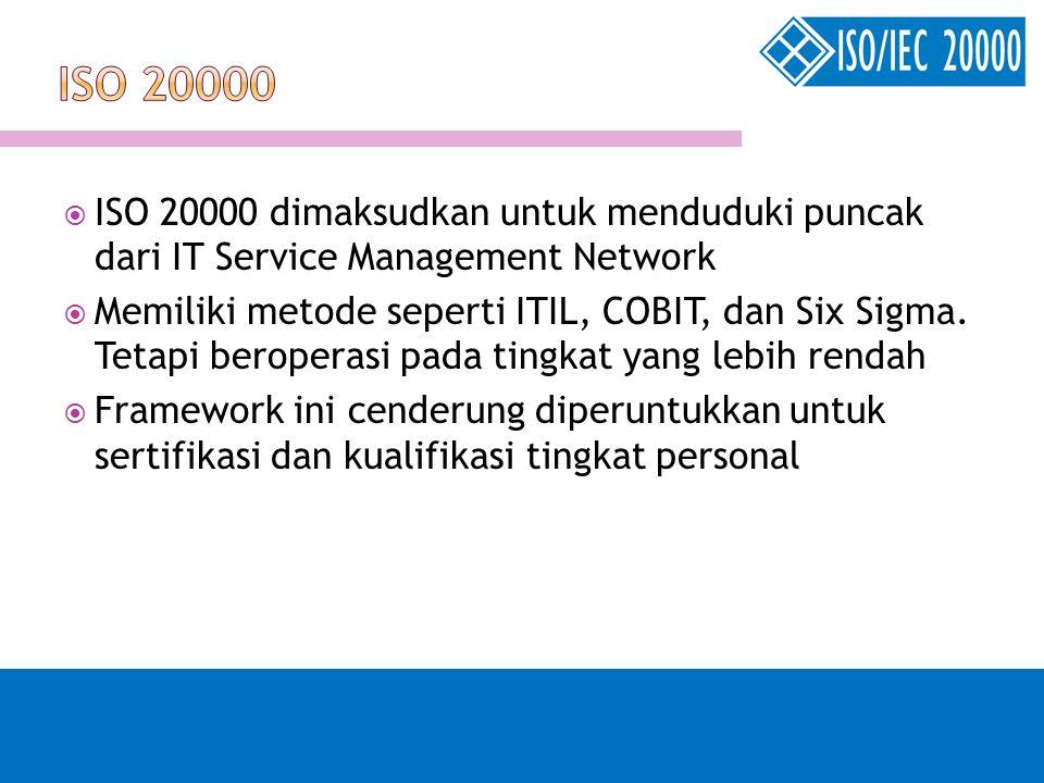 ISO 20000 ISO 20000 dimaksudkan untuk menduduki puncak dari IT Service Management Network.