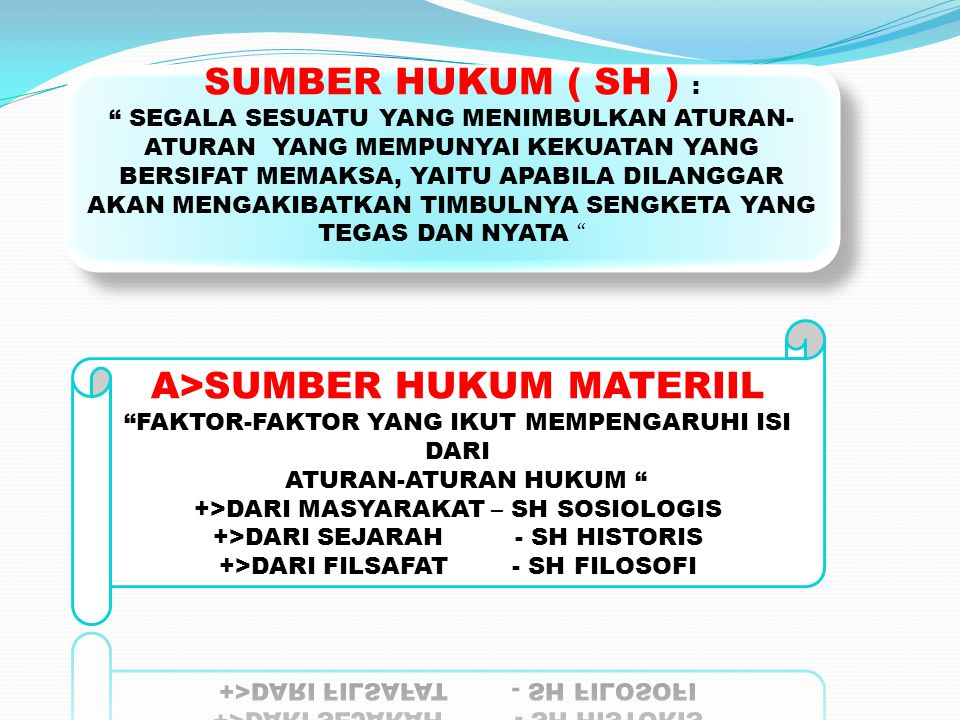 SUMBER HUKUM ( SH ) : A>SUMBER HUKUM MATERIIL