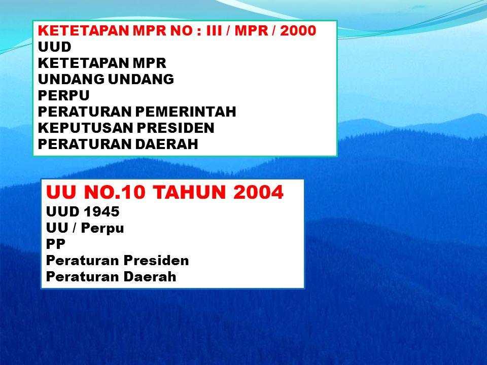 UU NO.10 TAHUN 2004 KETETAPAN MPR NO : III / MPR / 2000 UUD