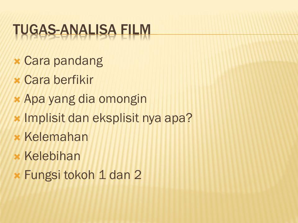 Tugas-analisa film Cara pandang Cara berfikir Apa yang dia omongin