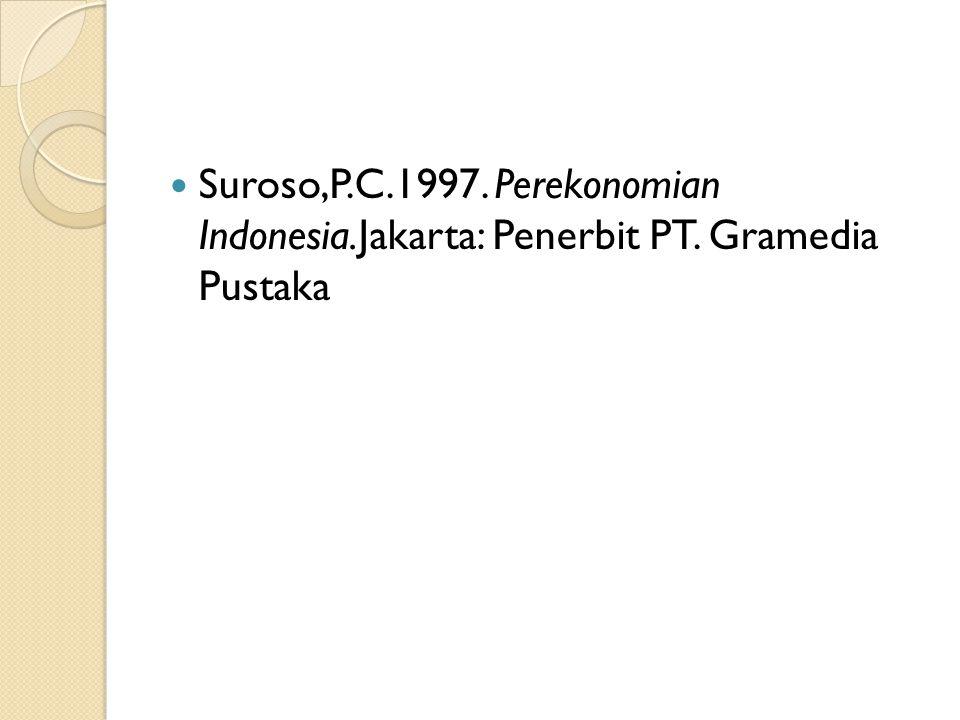Suroso,P. C. 1997. Perekonomian Indonesia. Jakarta: Penerbit PT