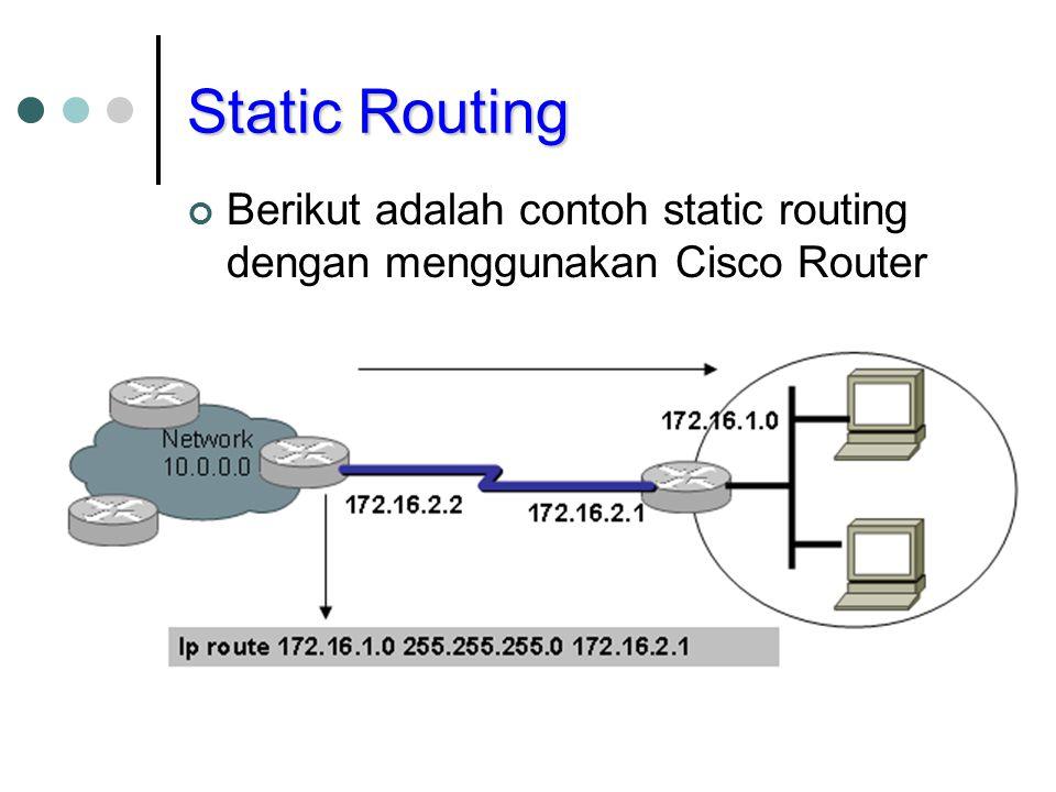 Static Routing Berikut adalah contoh static routing dengan menggunakan Cisco Router