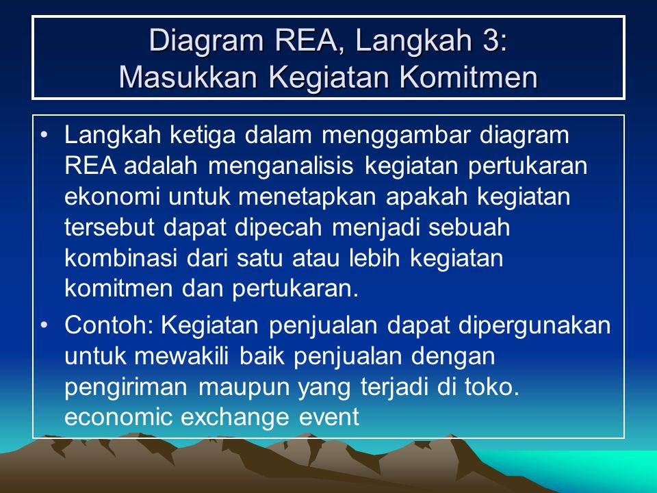Diagram REA, Langkah 3: Masukkan Kegiatan Komitmen