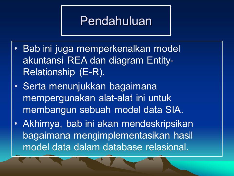 Pendahuluan Bab ini juga memperkenalkan model akuntansi REA dan diagram Entity-Relationship (E-R).