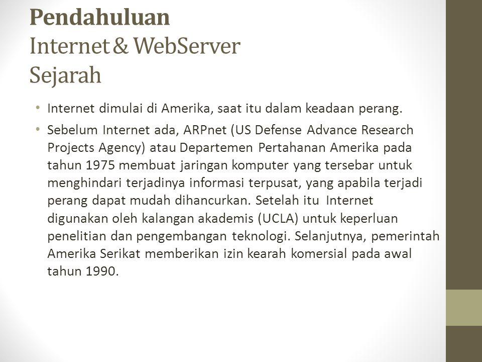 Pendahuluan Internet & WebServer Sejarah