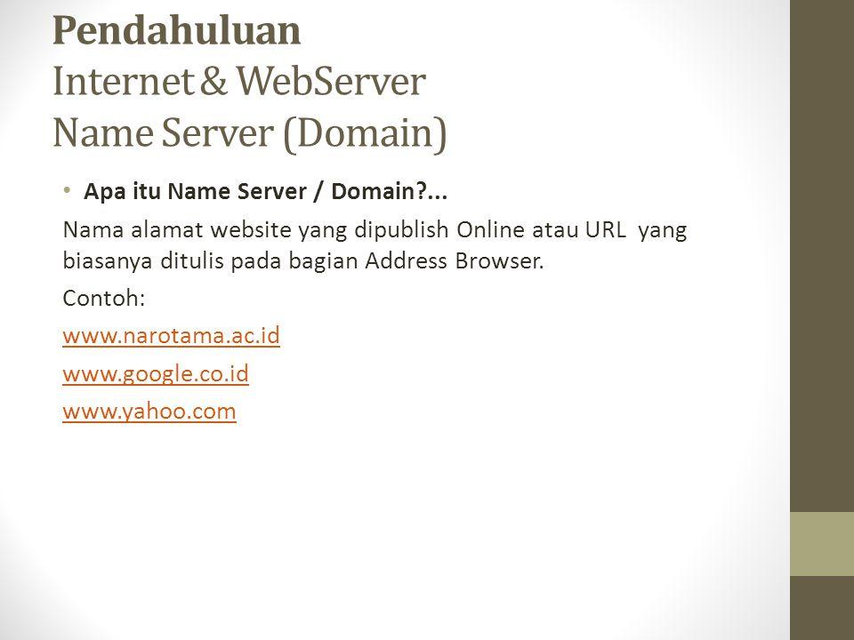 Pendahuluan Internet & WebServer Name Server (Domain)