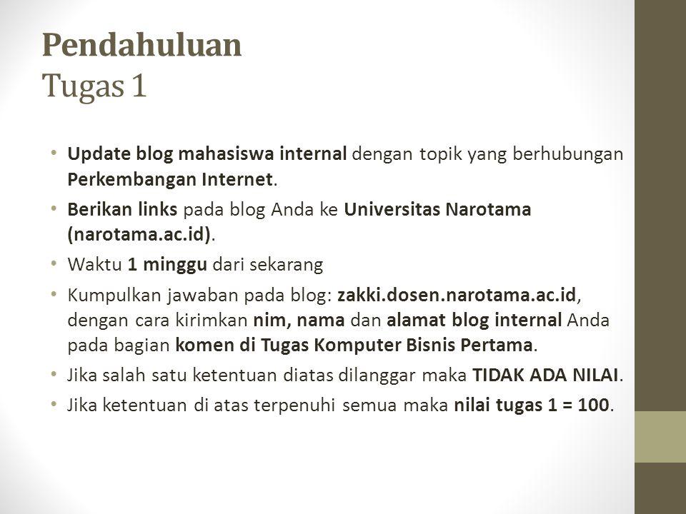 Pendahuluan Tugas 1 Update blog mahasiswa internal dengan topik yang berhubungan Perkembangan Internet.