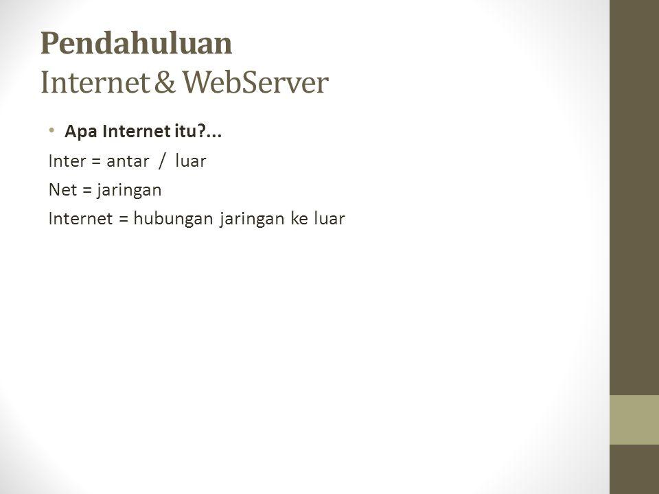 Pendahuluan Internet & WebServer