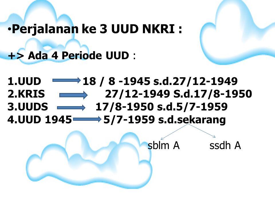 Perjalanan ke 3 UUD NKRI :