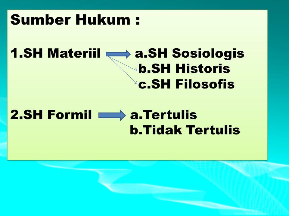Sumber Hukum : 1.SH Materiil a.SH Sosiologis b.SH Historis