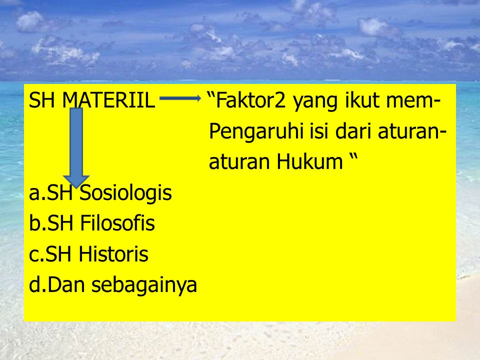 SH MATERIIL Faktor2 yang ikut mem- Pengaruhi isi dari aturan- aturan Hukum a.SH Sosiologis b.SH Filosofis c.SH Historis d.Dan sebagainya