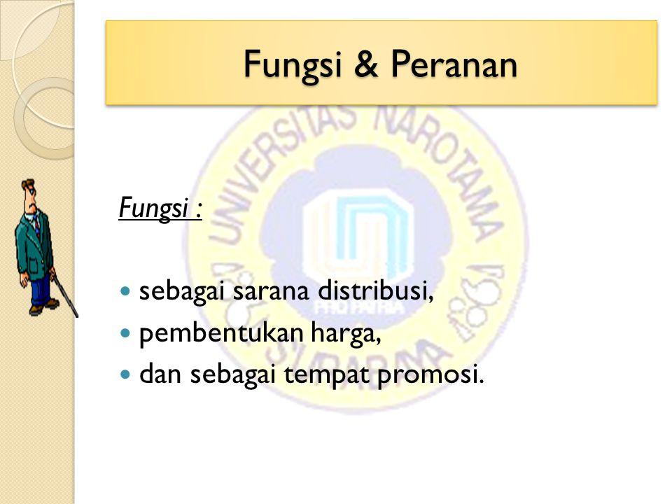 Fungsi & Peranan Fungsi : sebagai sarana distribusi,