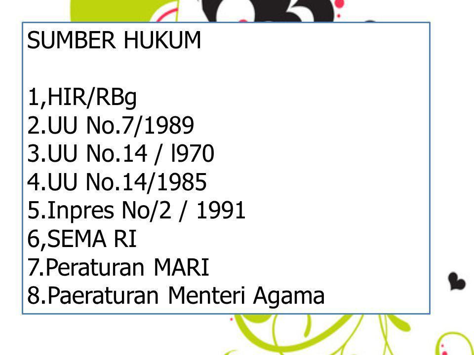 SUMBER HUKUM 1,HIR/RBg. 2.UU No.7/1989. 3.UU No.14 / l970. 4.UU No.14/1985. 5.Inpres No/2 / 1991.
