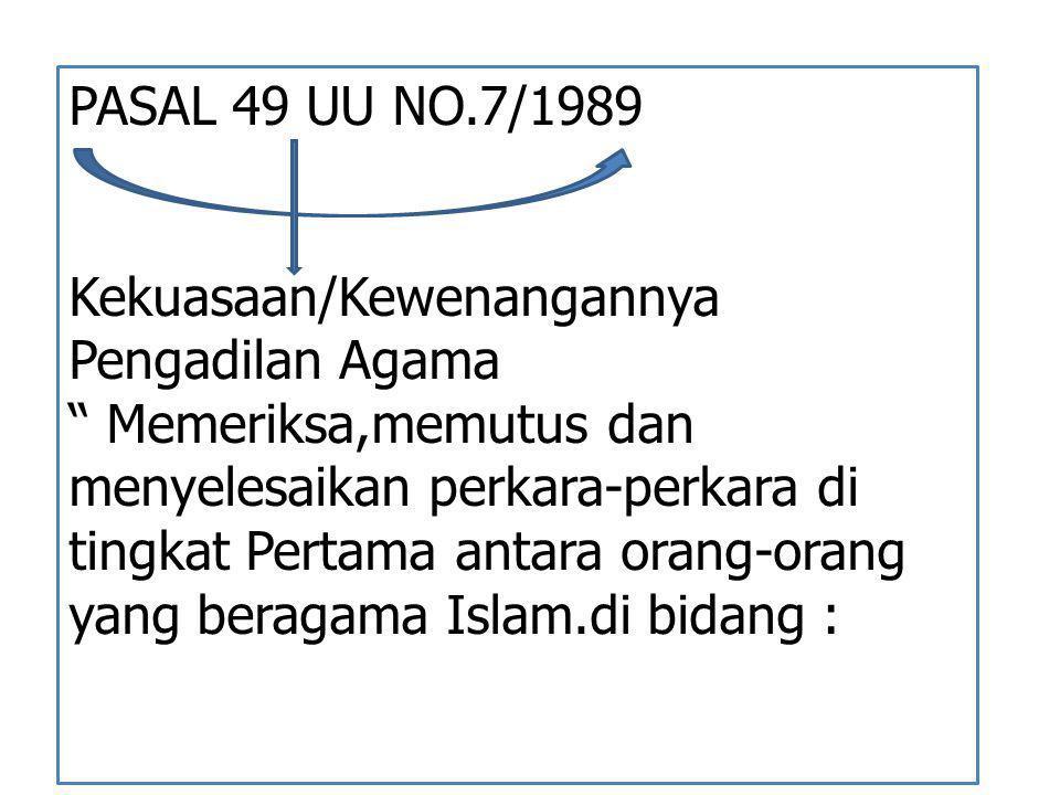 PASAL 49 UU NO.7/1989 Kekuasaan/Kewenangannya Pengadilan Agama.
