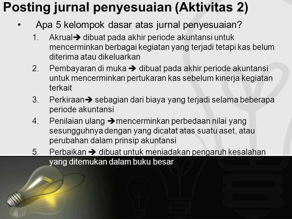 Posting jurnal penyesuaian (Aktivitas 2)