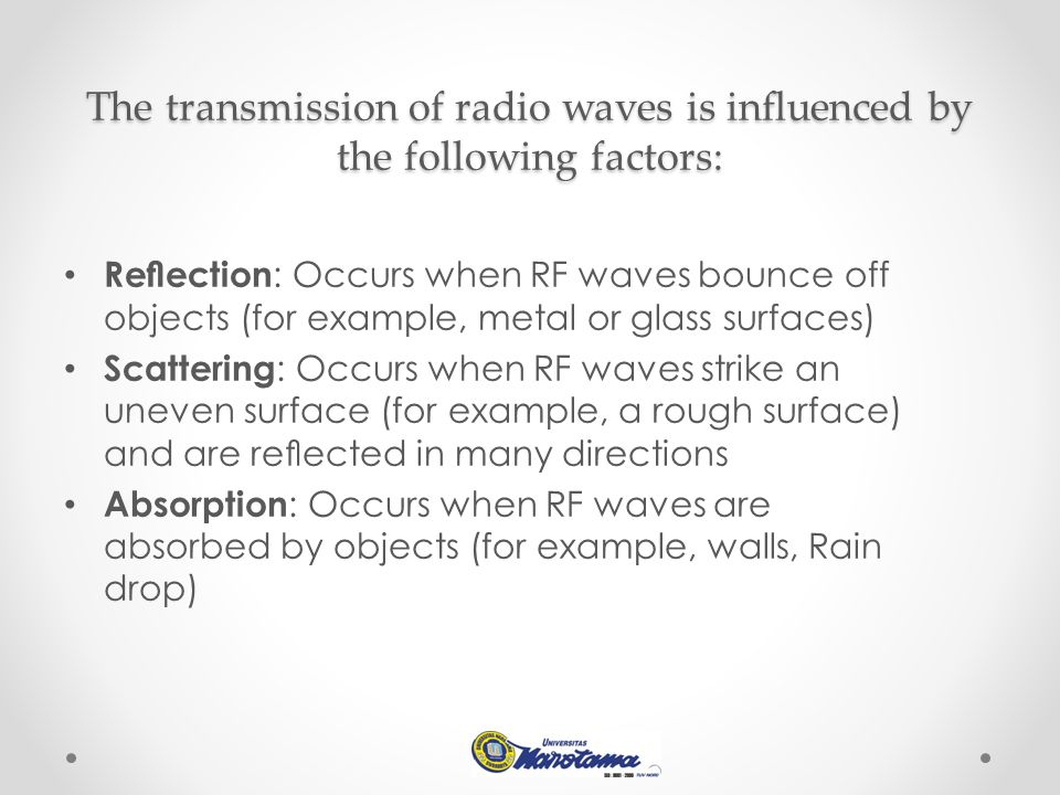 The transmission of radio waves is influenced by the following factors: