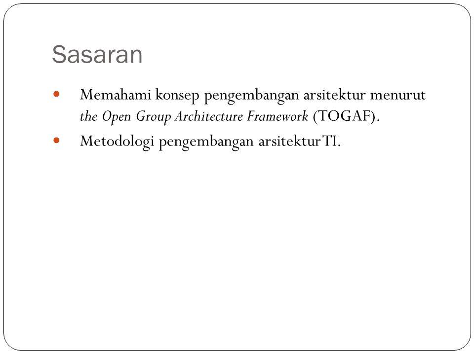 Sasaran Memahami konsep pengembangan arsitektur menurut the Open Group Architecture Framework (TOGAF).