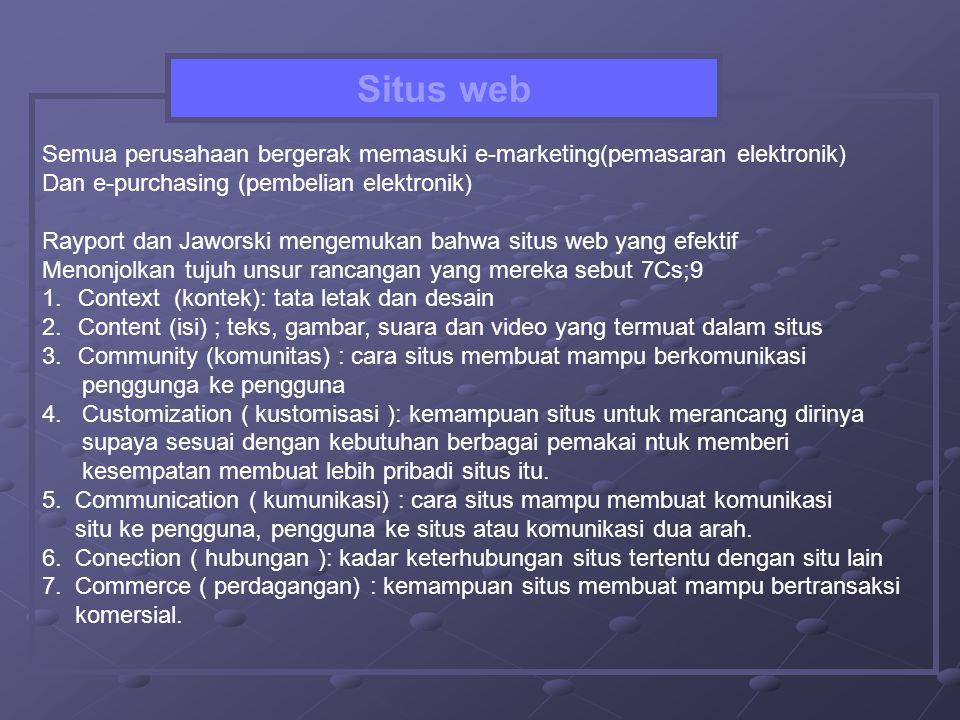 Situs web Semua perusahaan bergerak memasuki e-marketing(pemasaran elektronik) Dan e-purchasing (pembelian elektronik)