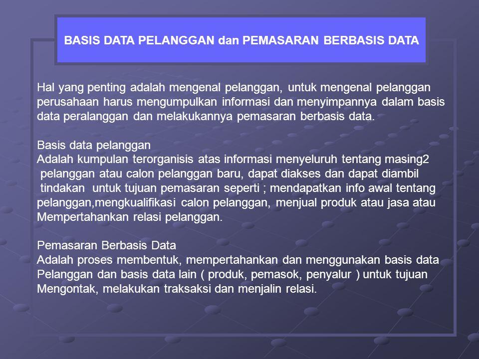 BASIS DATA PELANGGAN dan PEMASARAN BERBASIS DATA