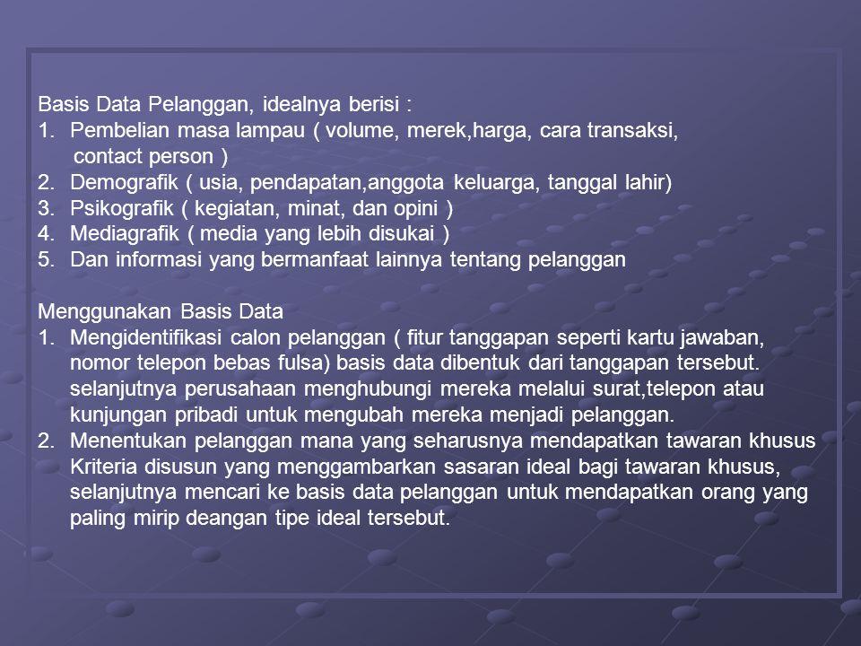 Basis Data Pelanggan, idealnya berisi :